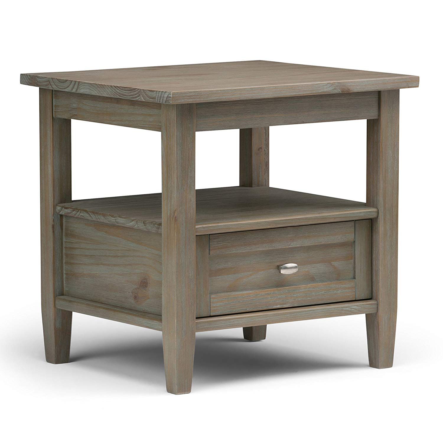 simpli home warm shaker solid wood inch grey distressed end tables wide rustic side table kitchen dining dog nightstand low square coffee beside sofa bathroom shelves demi lune