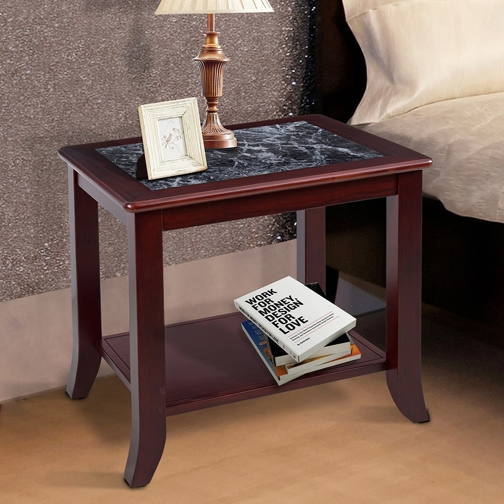 sleeplanner black white natural marble solid wood end table top tables chestnut ashley furniture coffee bedroom nightstand what shape goes with sectional sofa floor pole lamps