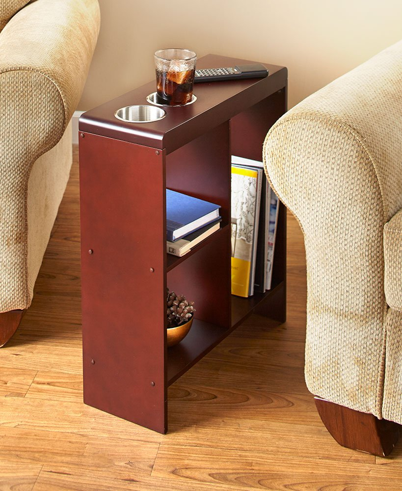 slim end table walnut with cup holders storage magazine holder sofa kitchen dining outdoor furniture replacement cushions ashley industries small metal accent galvanized pipe