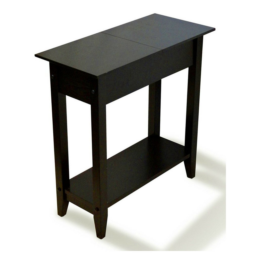 slim end table with storage tall flip top space saver black wooden narrow shelf living room nightstand chairside bedside sofa phone stand hallway home glass coffee metal legs