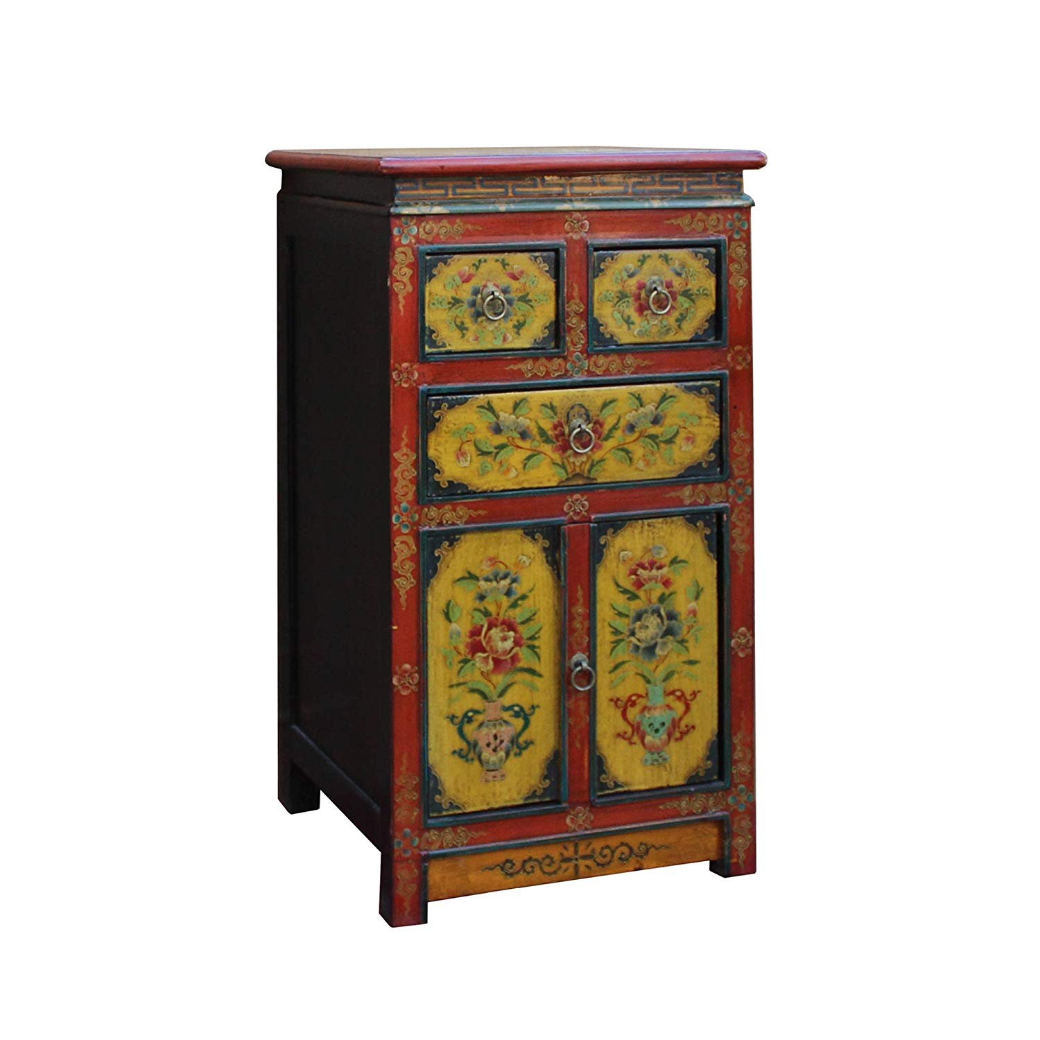 small cabinet tibetan oriental red black yellow orange end tables floral table nightstand kitchen dining slim bedside cabinets average dimensions tall shaped side silver mirrored