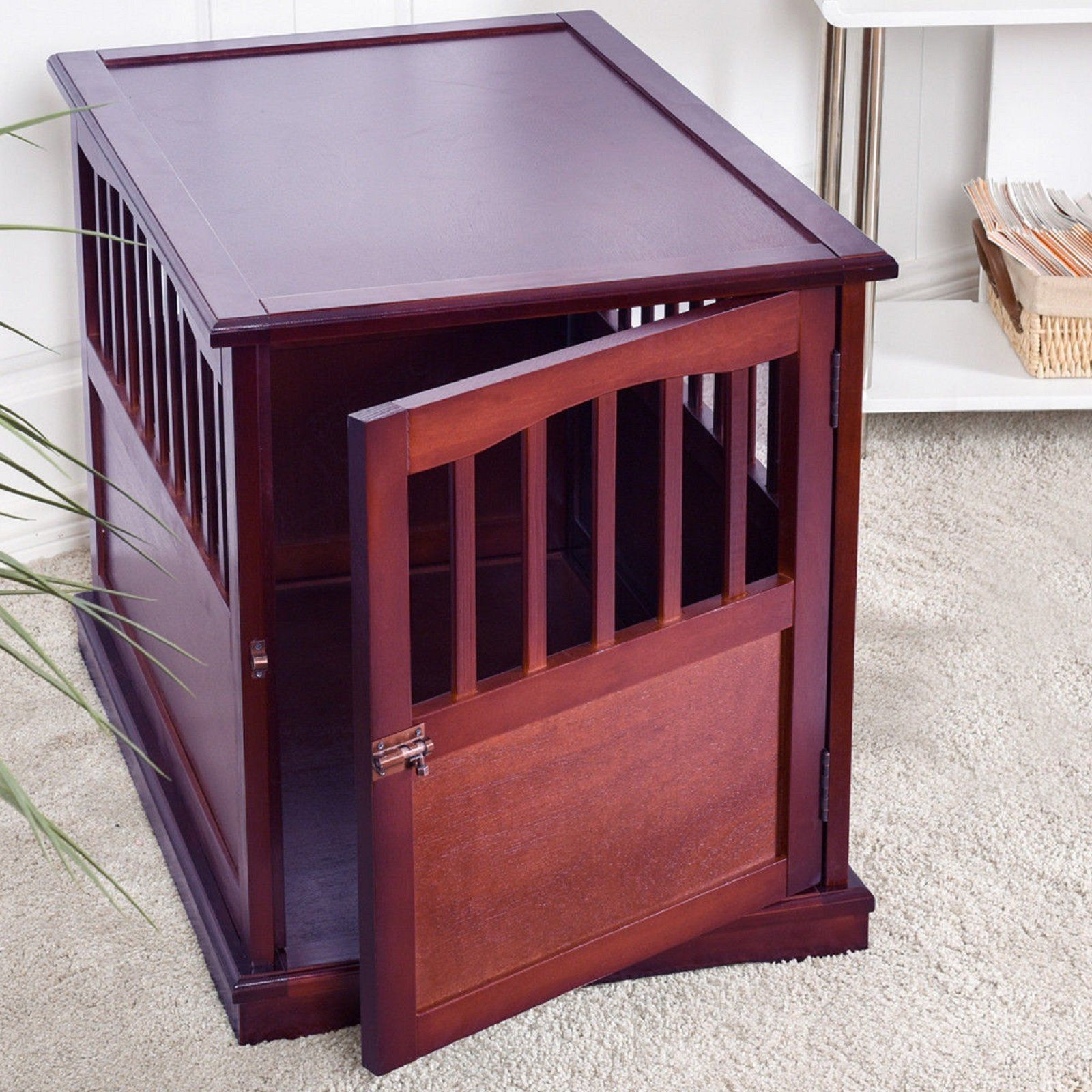 small dog crate hot wood pet end table cat kennel cage lockable door furniture outdoor wicker accent thomasville french provincial dining room black marble top tables brown sofa