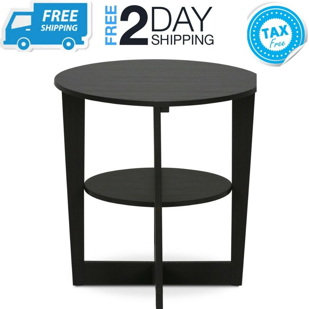small round end side table with storage shelf black wooden oval wood tables details about nightstand white lamp coffee north shore armoire ashley millennium patio metal mexican