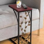 sofa side and end table small metal dark brown wood top with leaf design perfect for your living room slides chair recliner keep coaster furniture tables craigslist gold brass 150x150