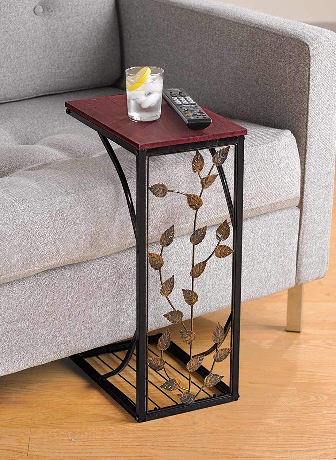 sofa side and end table small metal dark brown wood top with leaf design perfect for your living room slides chair recliner keep coaster furniture tables craigslist gold brass