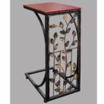sofa side end table small metal dark brown wood top with leafside leaf design shaped tray slides couch chair recliner free shipping kmart plastic distressed ideas glass sheet for 150x150