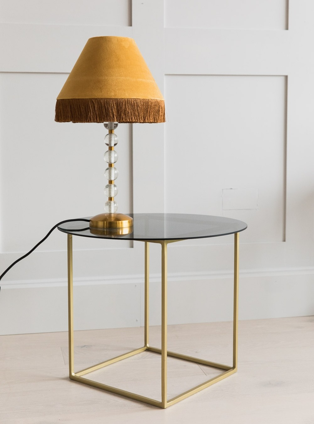 sofia brass smoked glass side table rose grey end tables double tap zoom large white crate sofa decor ideas furniture consignment houston coffee with hole middle medusa floor lamp
