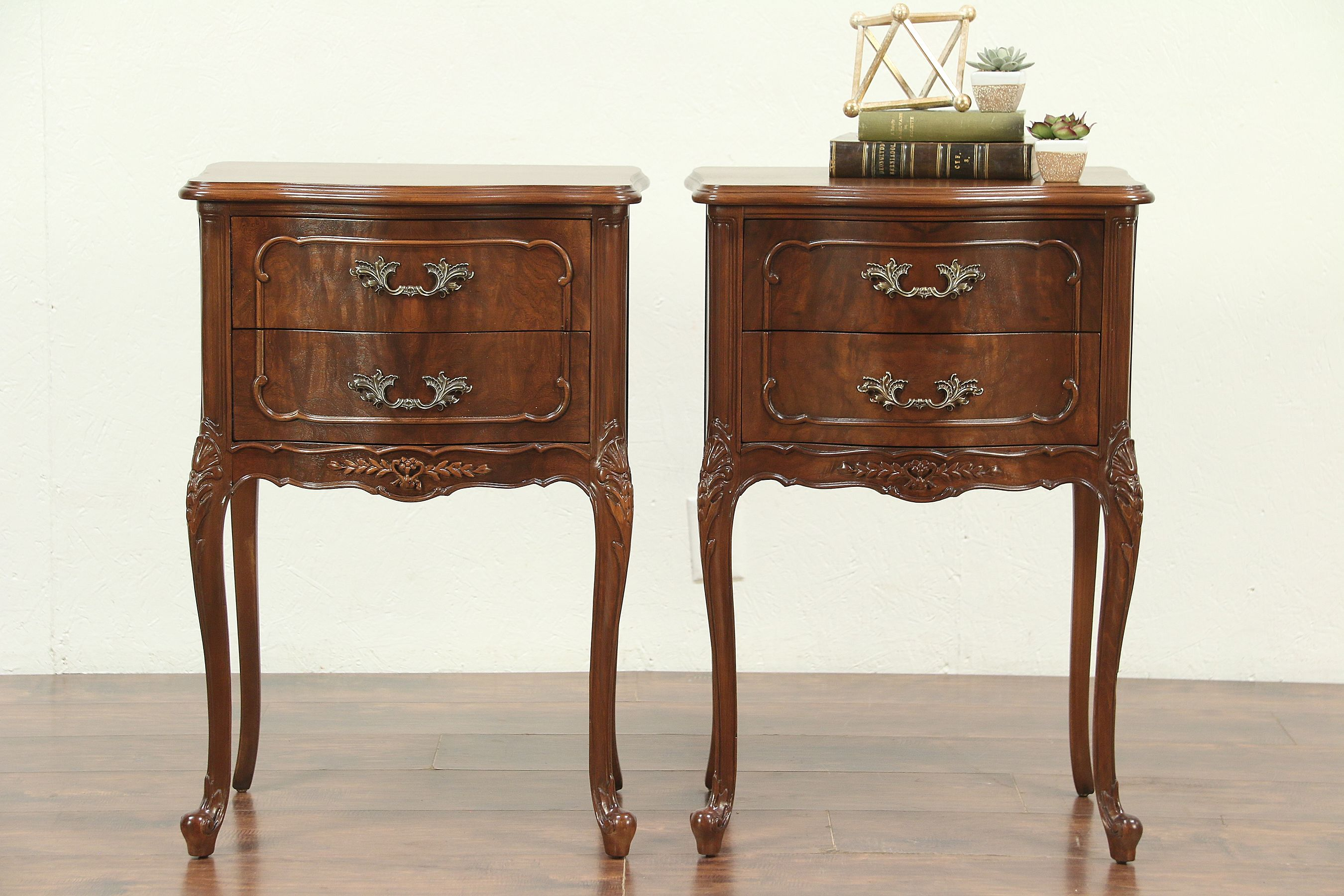 sold pair french style vintage walnut nightstands end tables and airy universal furniture unfinished wood corner desk normal height coffee table creative dog cages navy blue