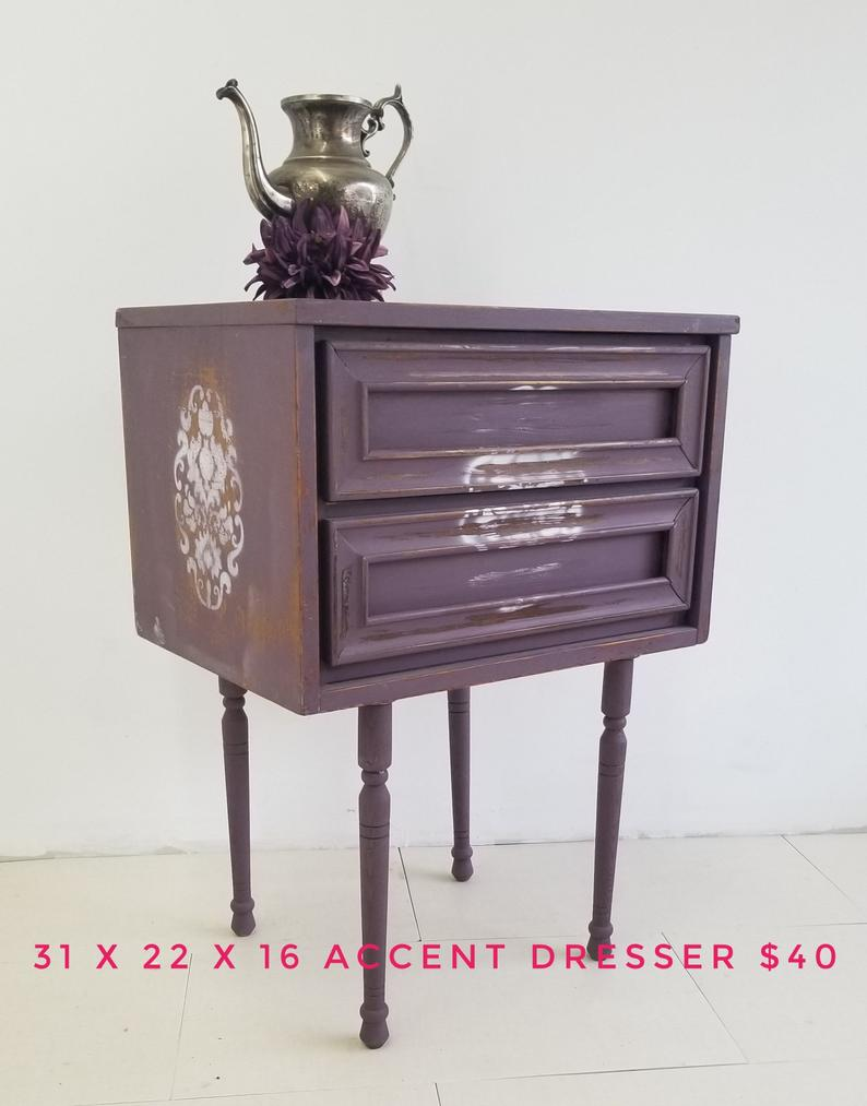 sold purple accent dresser end table lingerie chest custom etsy eclipse espresso tiered coffee salvaged wood nightstand lexington dining furniture steel dog crates kennels amish