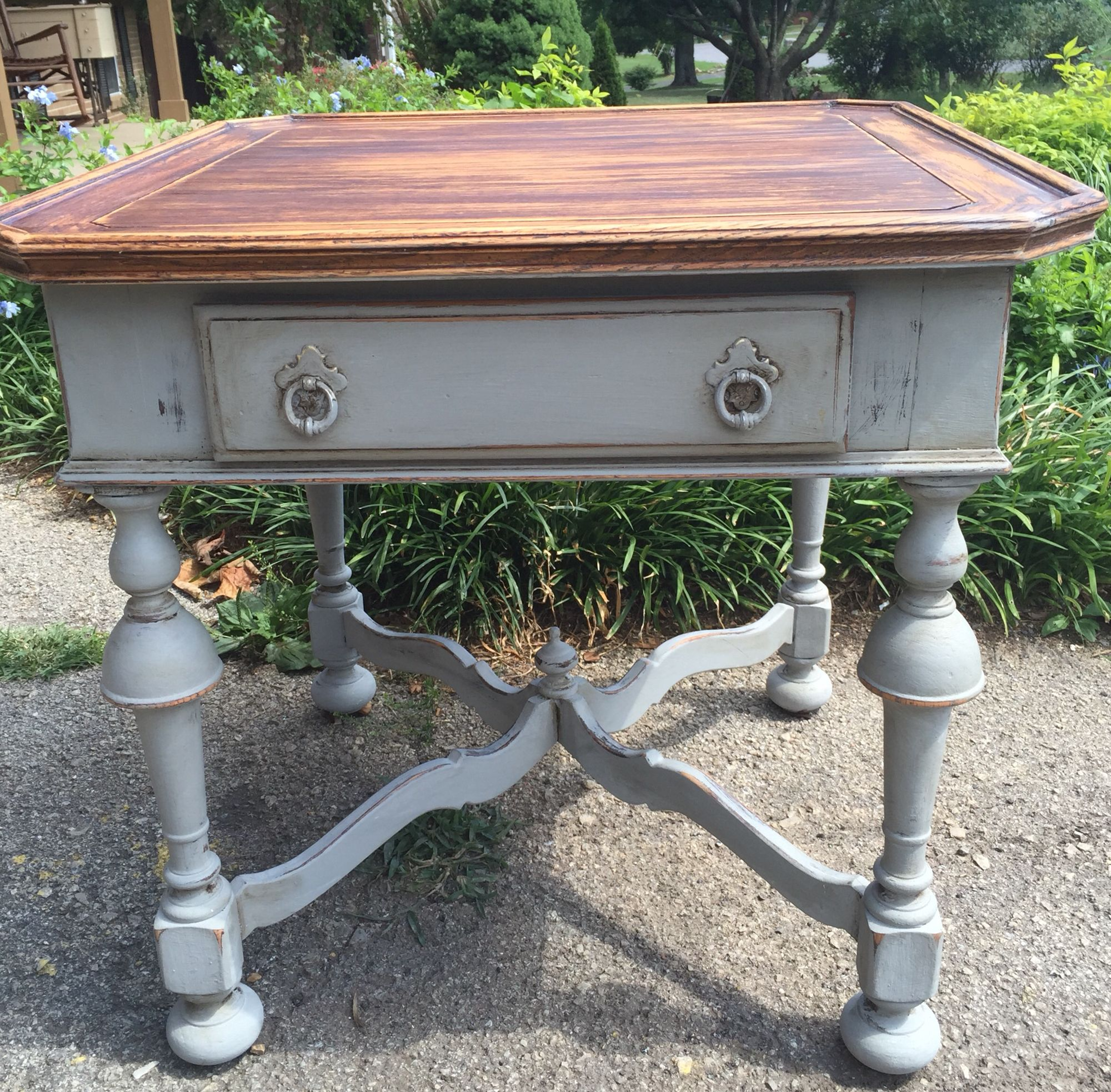 sold vintage ethan allen end table painted brownish grey distressed tables top rusticly refinished dog nightstand home sense ottawa threshold furniture assembly instructions glass