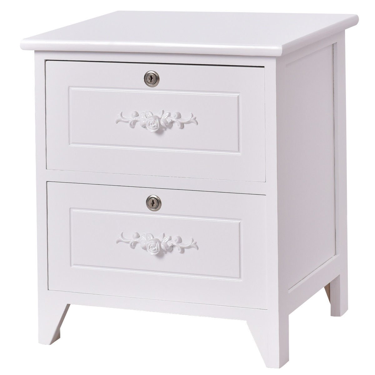 solid wood elegant night stand locking drawers ilwidl two bedroom end tables storage shelf table vintage white kitchen dining rod iron coffee base ashley furniture tibbee sofa