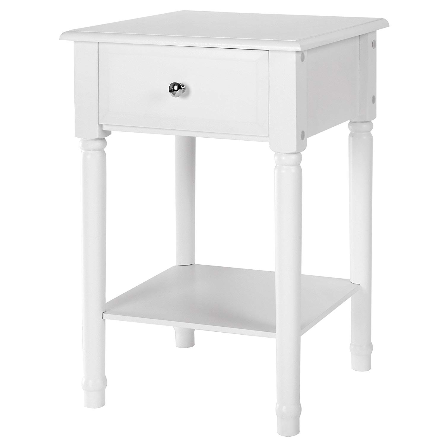 songmics white nightstand end table with solid pine wood legs bedside sliding drawer and storage shelf easy assemble ashley furniture porter panel wicker coffee tables night light
