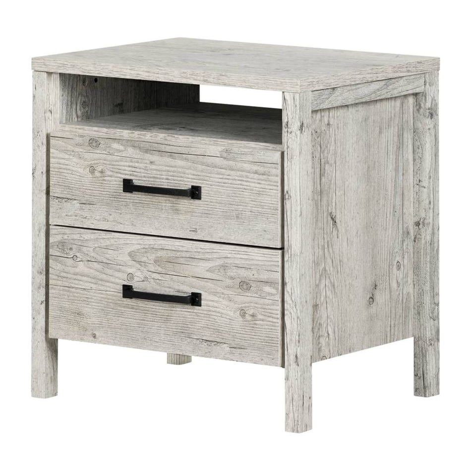 south shore furnitures nightstand gray clement riv bedroom end tables cast iron side table hallway wall should living room furniture match can use spray paint wood type for