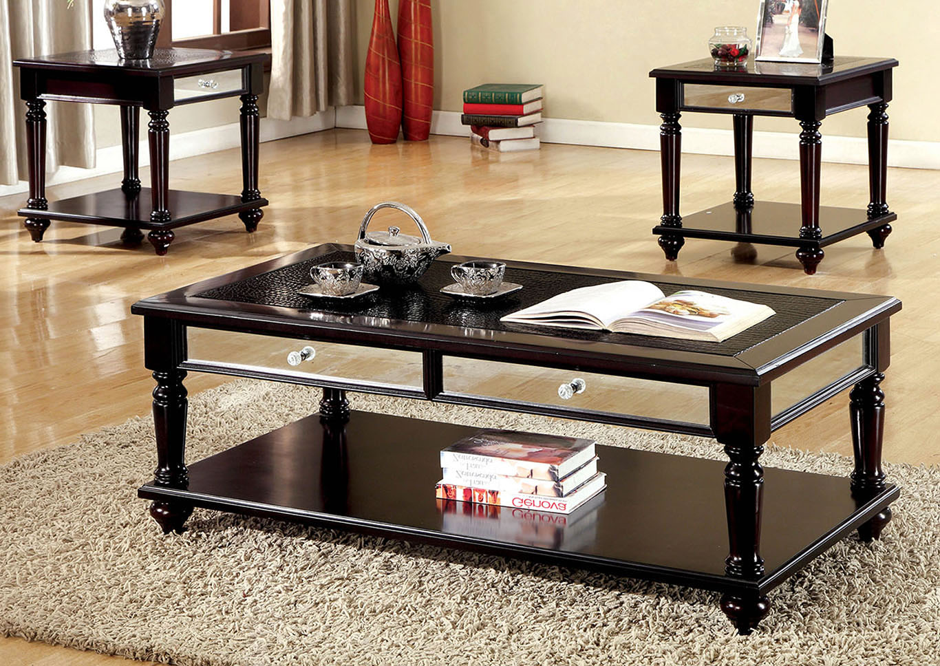 squan furniture horace piece espresso table set crocodile coffee end tables leatherette top mirror panel drawers broyhill storage basket should bedside match ashley black friday