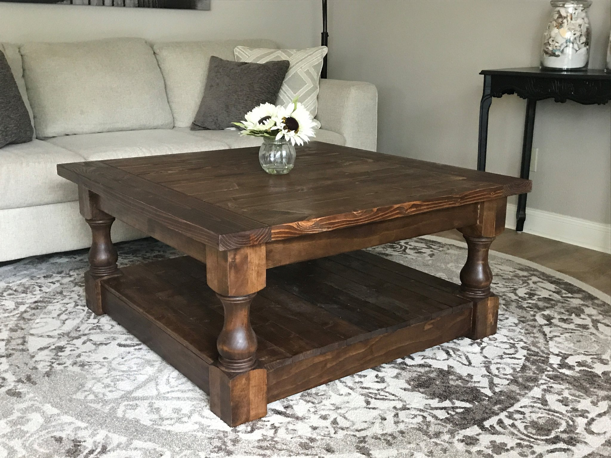 stained farmhouse style rustic coffee table img end tables beautiful night where ethan allen furniture made designer toronto cherry magazine plain wood kmart patio sets black high
