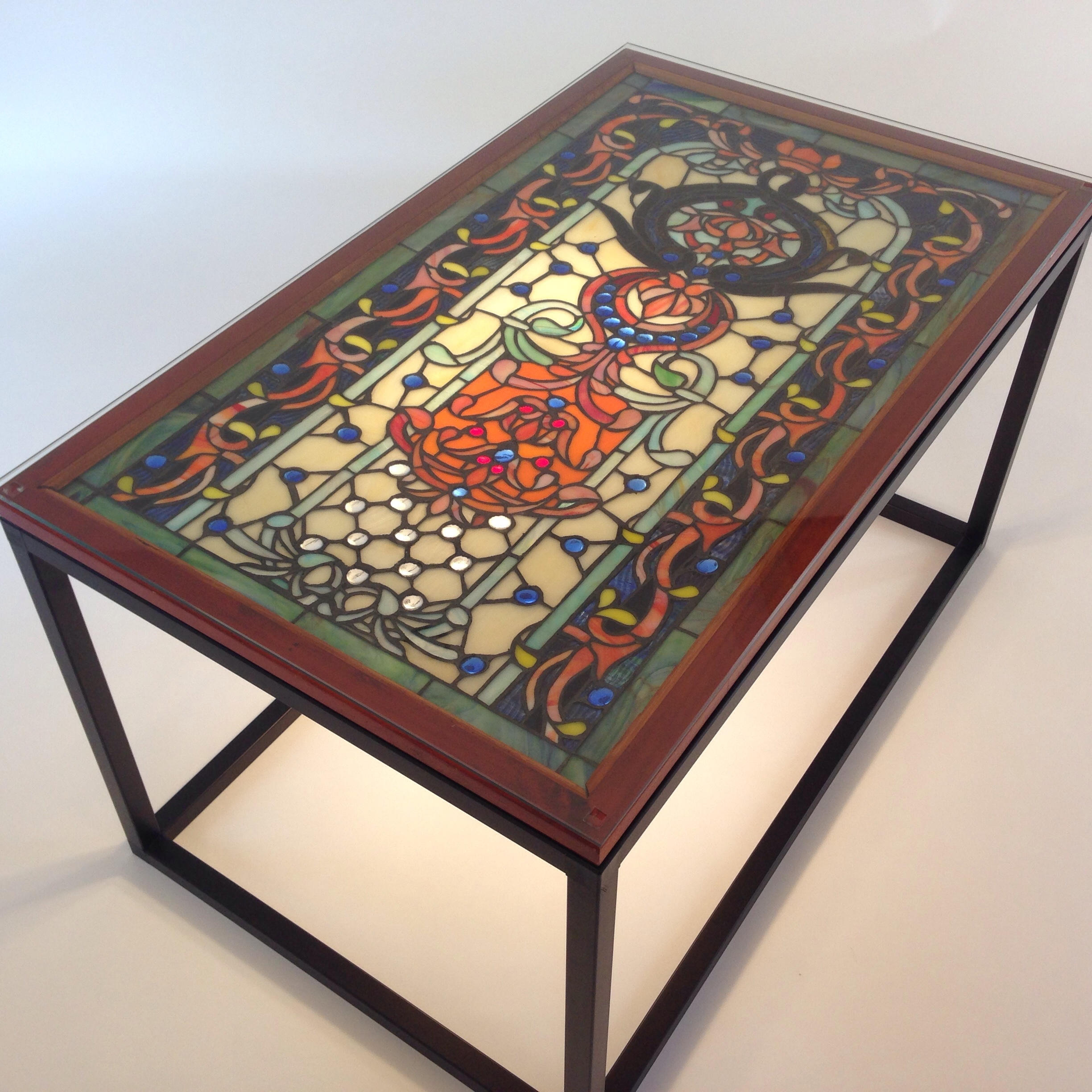 stained glass coffee table end blue and etsy fullxfull tables ethan allen american impressions dining oriental nesting rustic antique craigslist montreal furniture trunk sofa