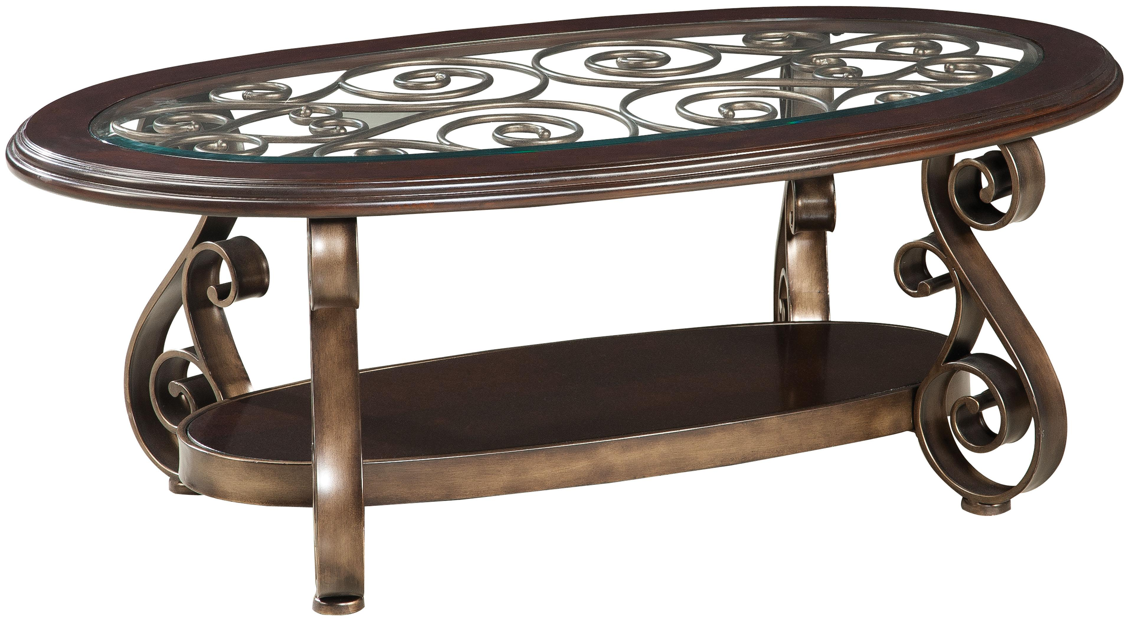 standard furniture bombay old world cocktail table with glass top products color wood end and scroll legs pub set black metal pipe riverside coventry temecula murrieta tables for