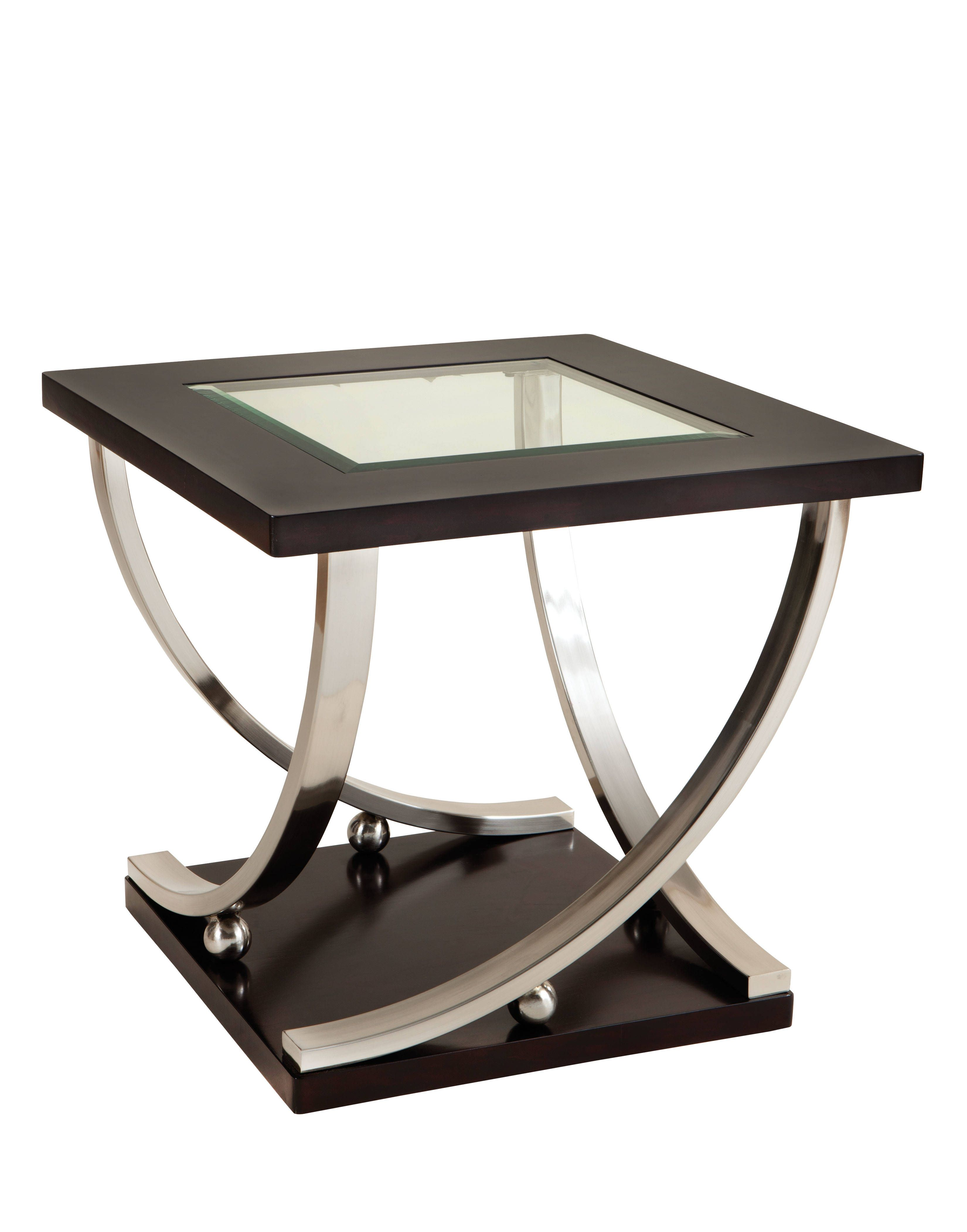 standard furniture melrose glass end table modern metal dark merlot wood ethan allen maple patio and chairs with umbrella signature design what time does homesense close