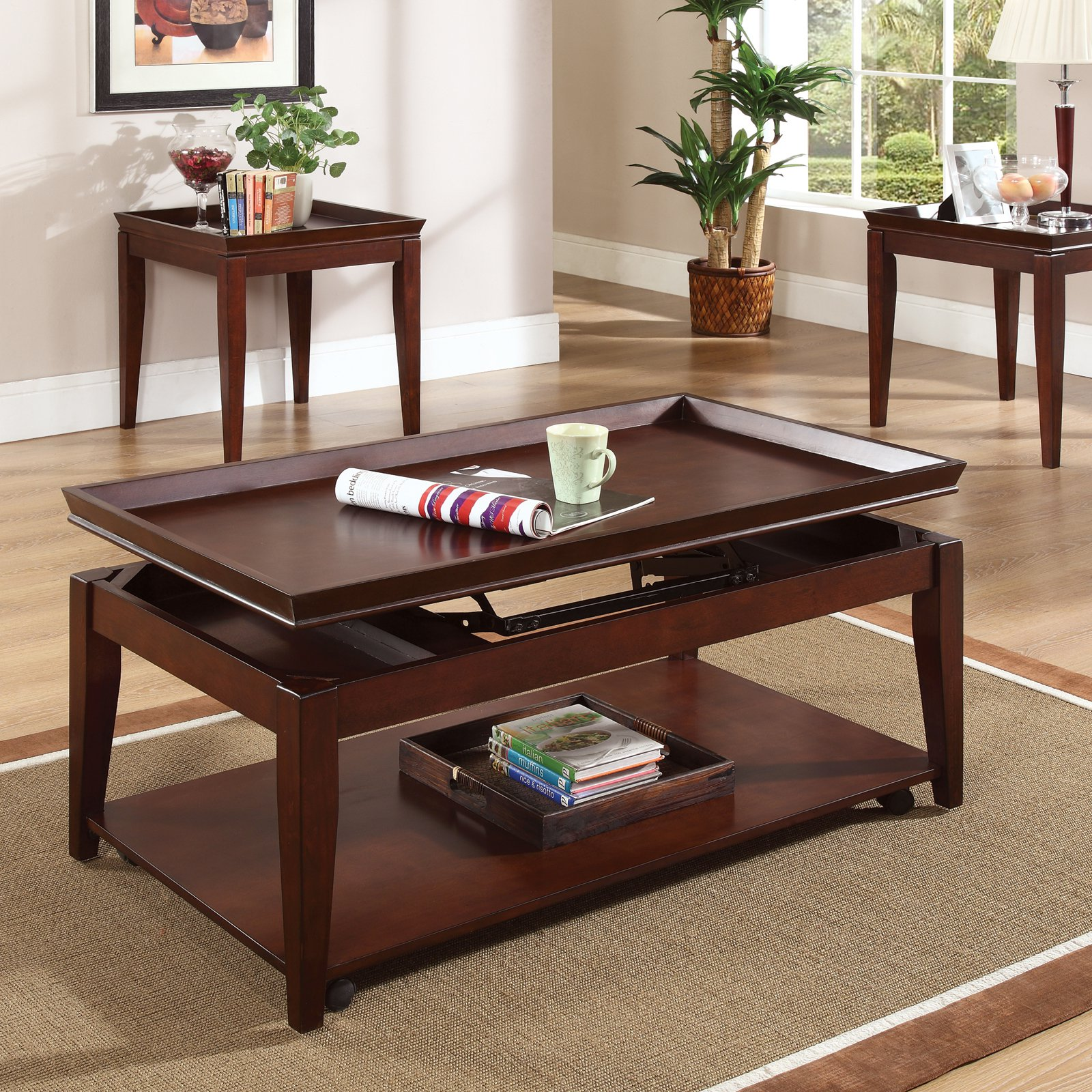 steve silver clemens rectangular cherry wood lift top piece coffee end tables sets table set metal with storage glass bedroom furniture liberty suites nearest ashley wooden dog