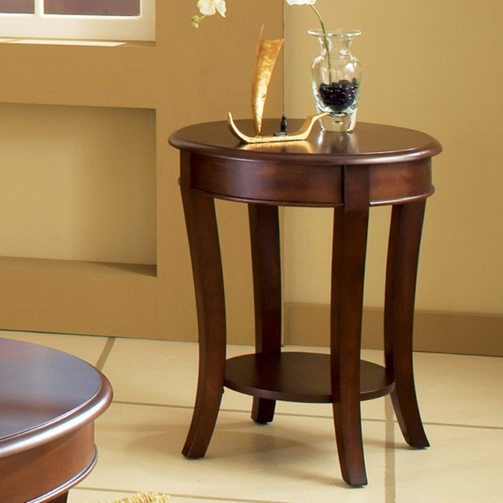 steve silver troy round wood end table cherry inches finish details about kartell side dog crate cart unstained furniture arch glass coffee reclaimed pallet thomasville catalina