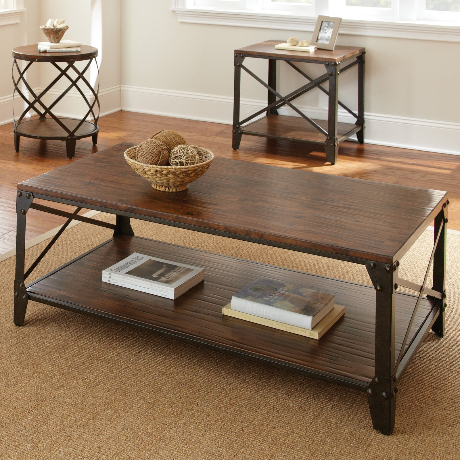 steve silver winston rectangle distressed tobacco wood and metal coffee table end tables white square cocktail medium dog cage round glass wrought iron diy pen indoor pottery barn