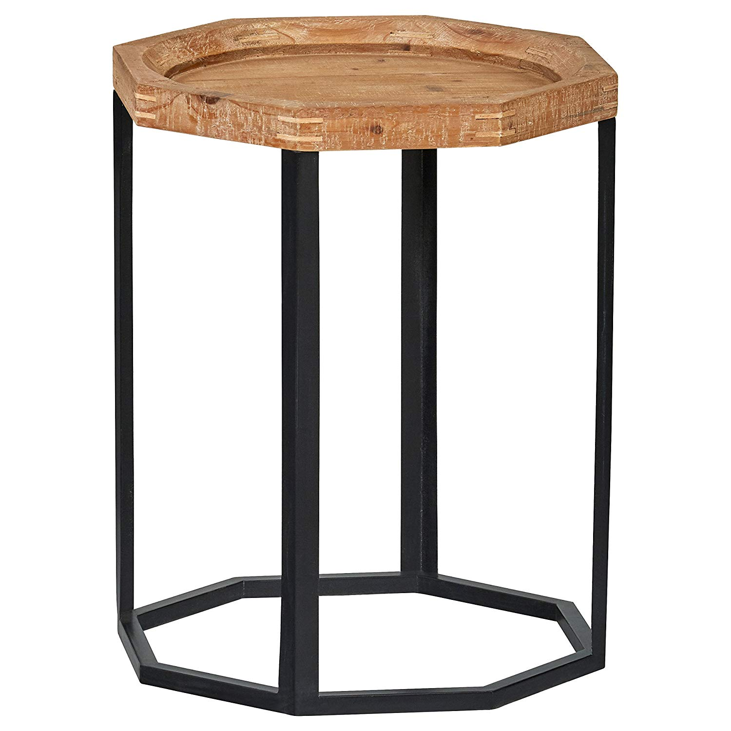 stone beam arie rustic octagonal end table wood tables natural kitchen dining oak and black gloss furniture with accent wooden coffee storage drawers replacement glass top for