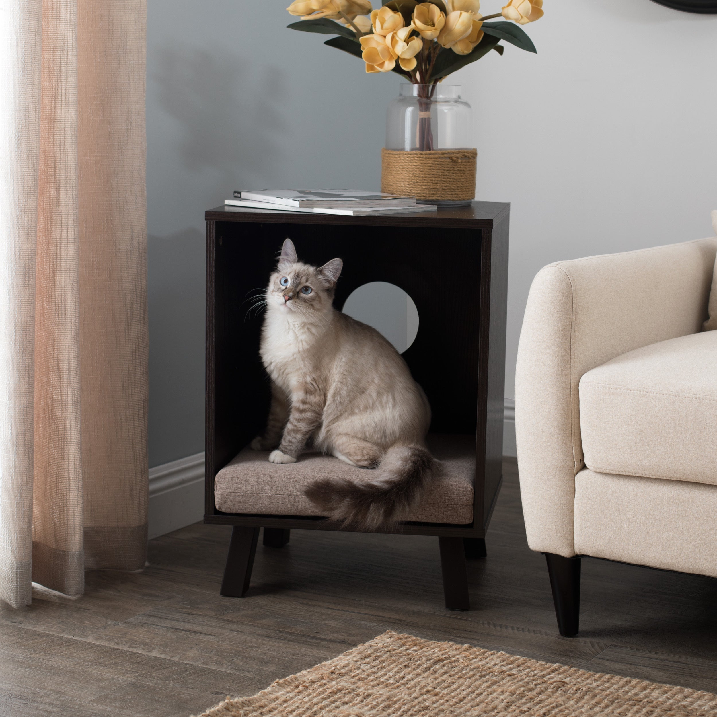 studio designs paws purrs pet end table centerpieces highlands bedroom furniture bedside night modern decor small espresso nightstand beveled glass top wall color that goes with