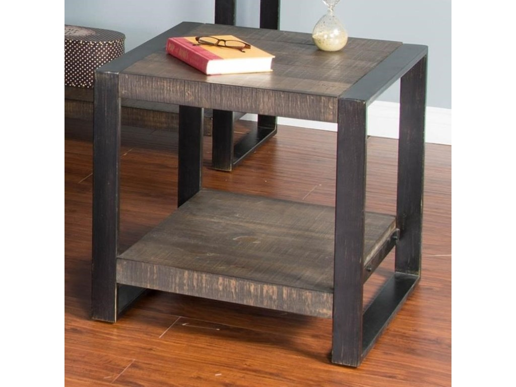 sunny designs durham distressed pine square end table with products color tables industrial metal frame accents for furniture dog tutorial liberty ocean isle bedroom set royal