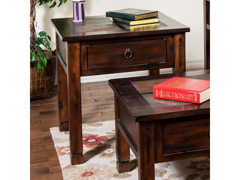 sunny designs santa end table slate top fashion furniture products color sante tables lexington office light homesense logo inch high console geode coffee inexpensive and brass