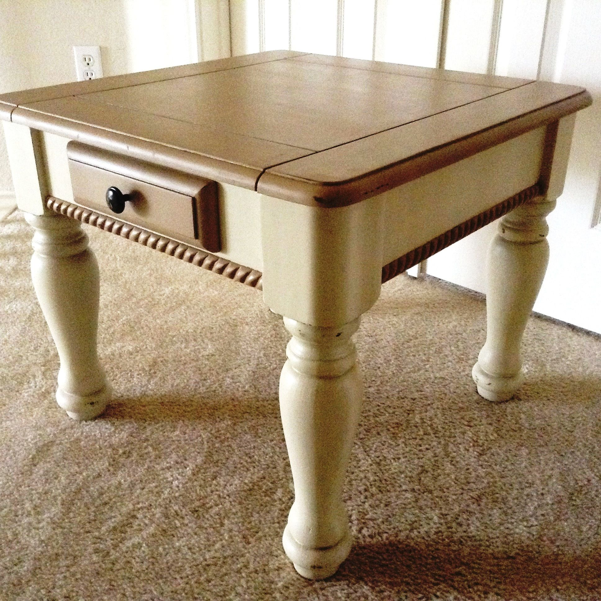 tan and cream colored end table painted using chalk style paint distressed tables lightly sealed with clear dark wax mary garden refinished universal furniture riverside medley