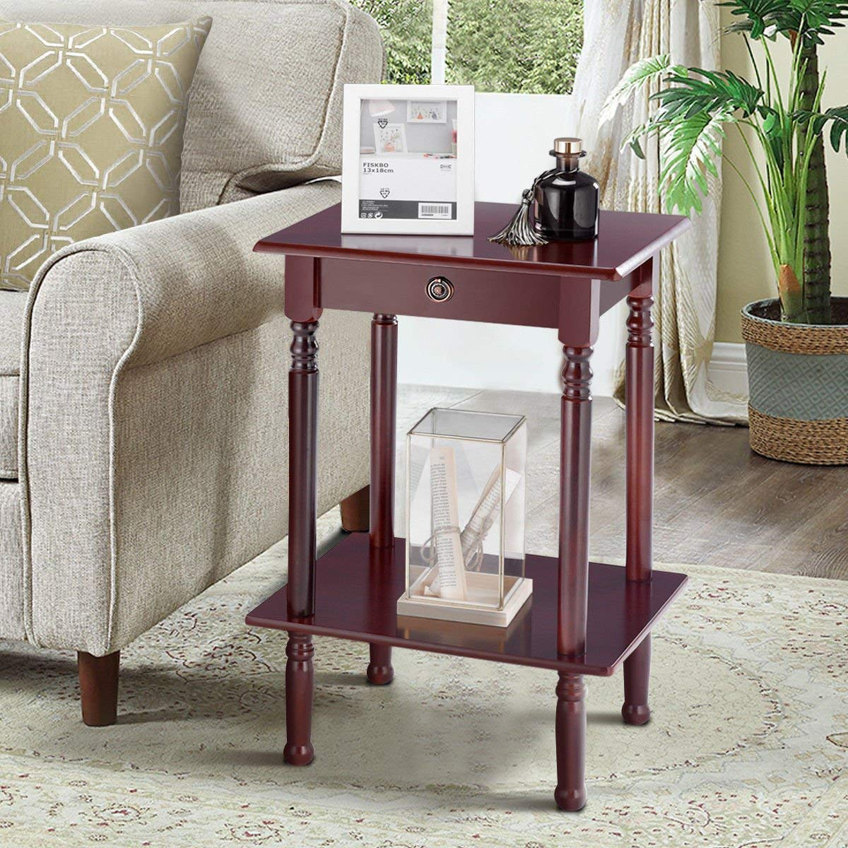 tangkula end table tall wood side accent style telephone stand home office furniture shelf tables wooden dog kennel kits antique brookstone cocktail master macy tampa pulaski wine