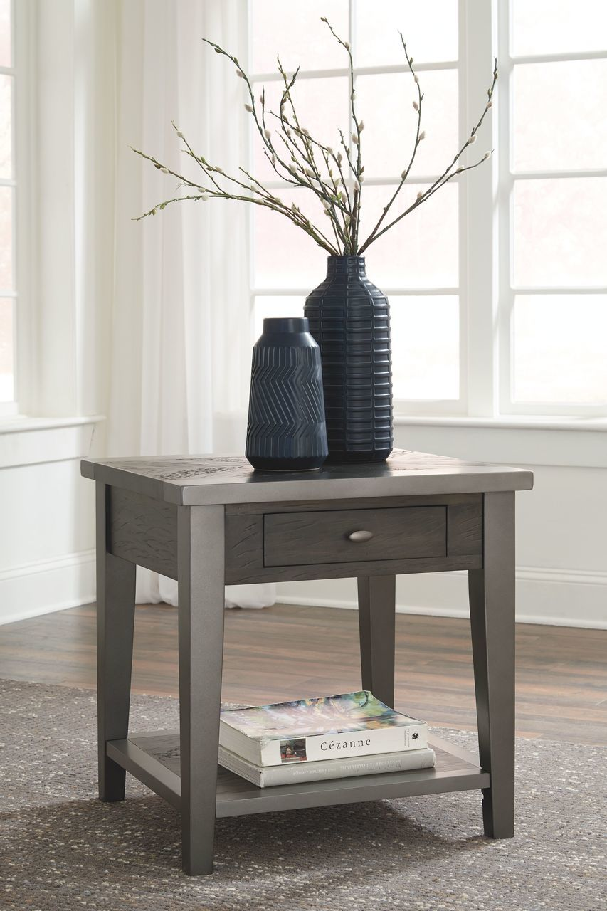 the branbury grayish brown rectangular end table available royal gray tables height console behind sofa ethan allen home office desks sauder furniture entertainment center side