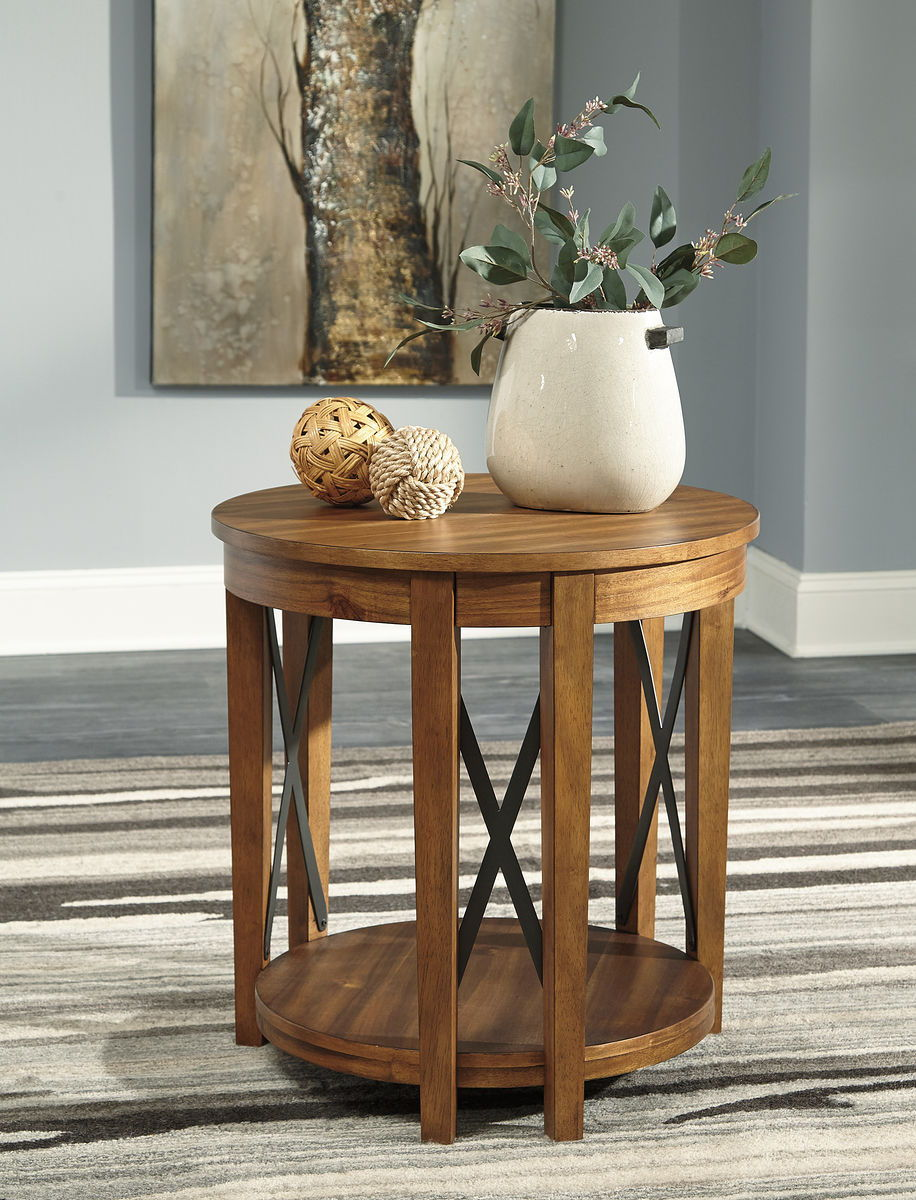 the emilander light brown round end table available spencer tables unfinished pine coffee stanley retreat furniture lexington youth nautical style rattan tall faux marble pallet