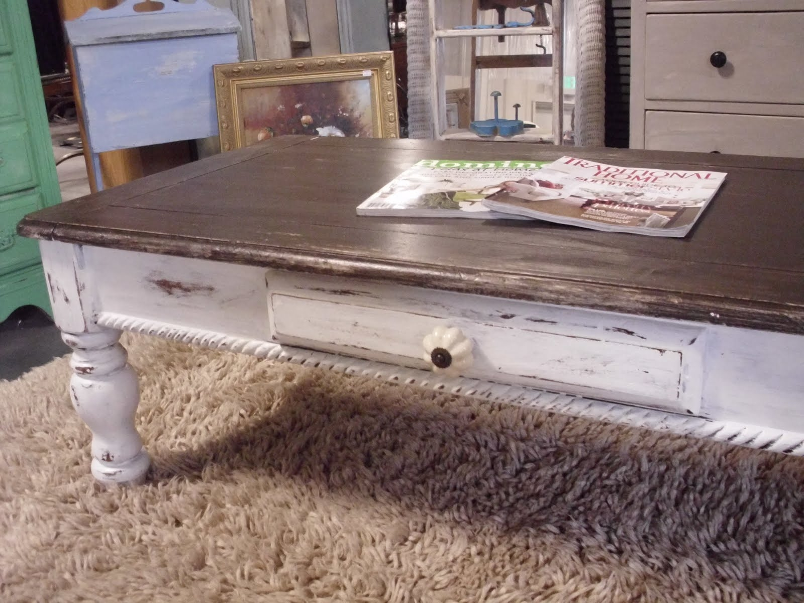 the french flea distressed coffee table white and end tables sofa set modern glass lamp tuscan black red leather furniture brown pine side pottery barn fabric round rustic chic
