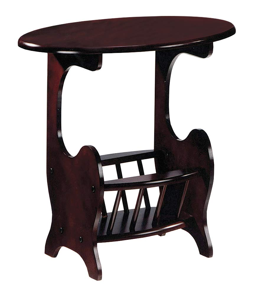 the furniture cove cherry finish oval accent side table coaster end magazine holder free drink included home kitchen small patio distressed oak sofa design tures protector kmart