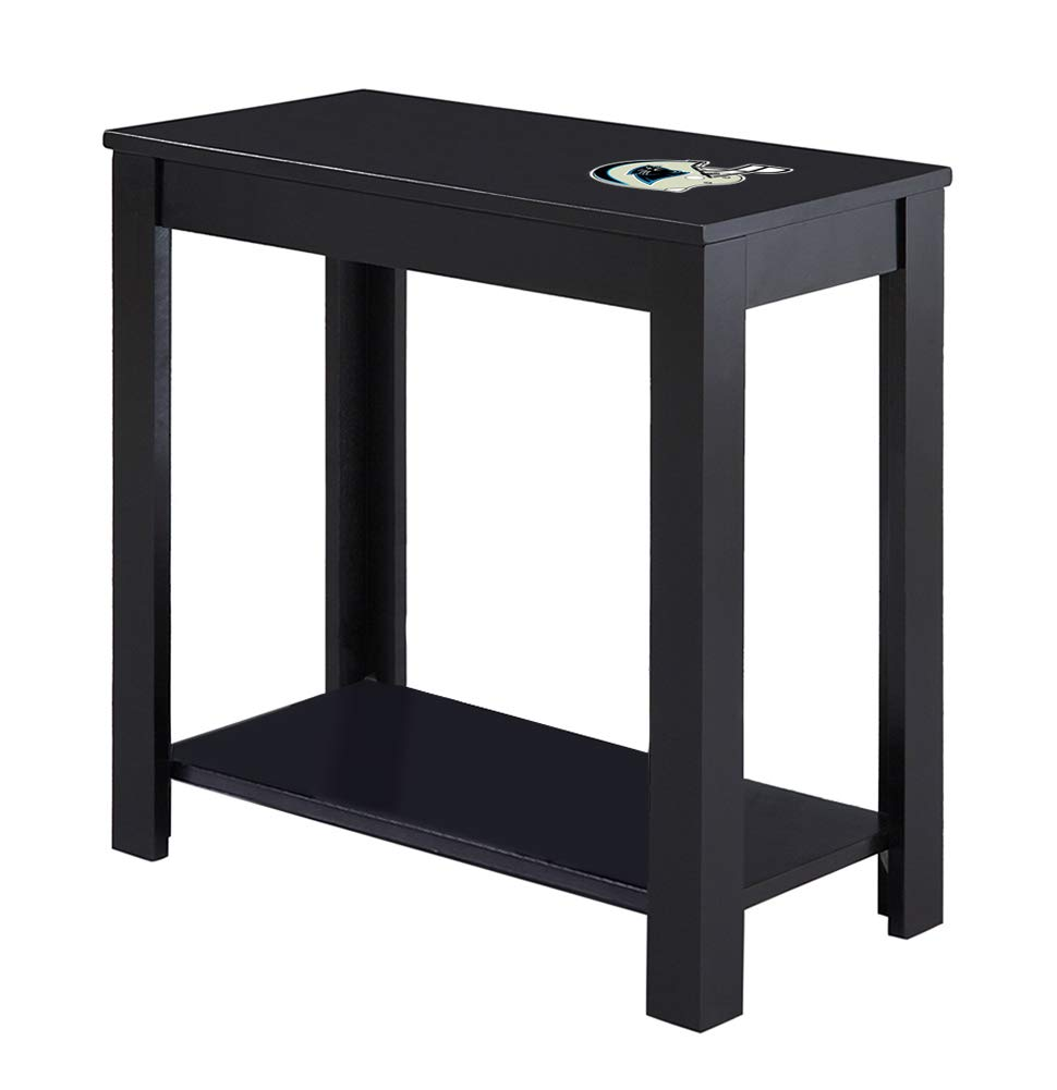 the furniture cove end table night stand black panther tables finish featuring vinyl decal panthers helmet football team logo kitchen dining liberty round glass metal industrial
