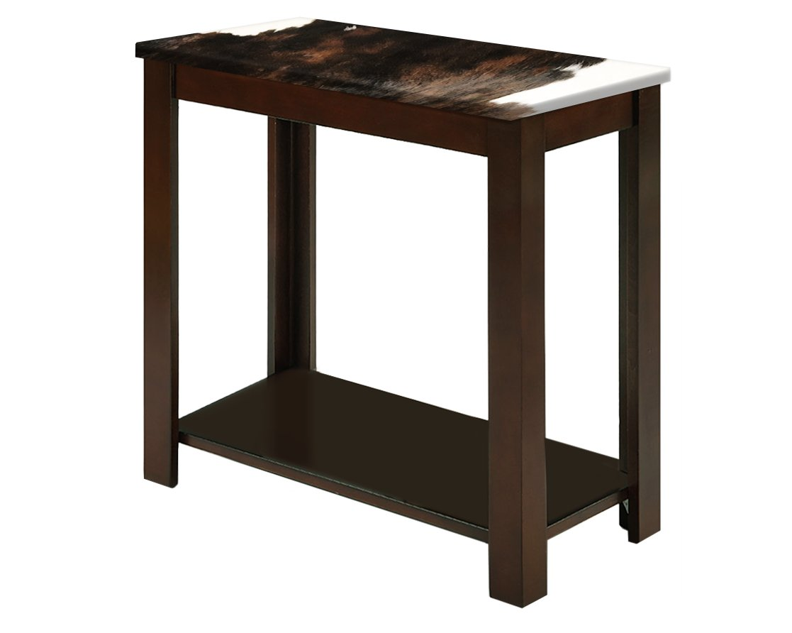 the furniture cove new cappuccino espresso finish end table featuring authentic dark brown cowhide kitchen dining allan heron rugs that match leather accent riverside aberdeen