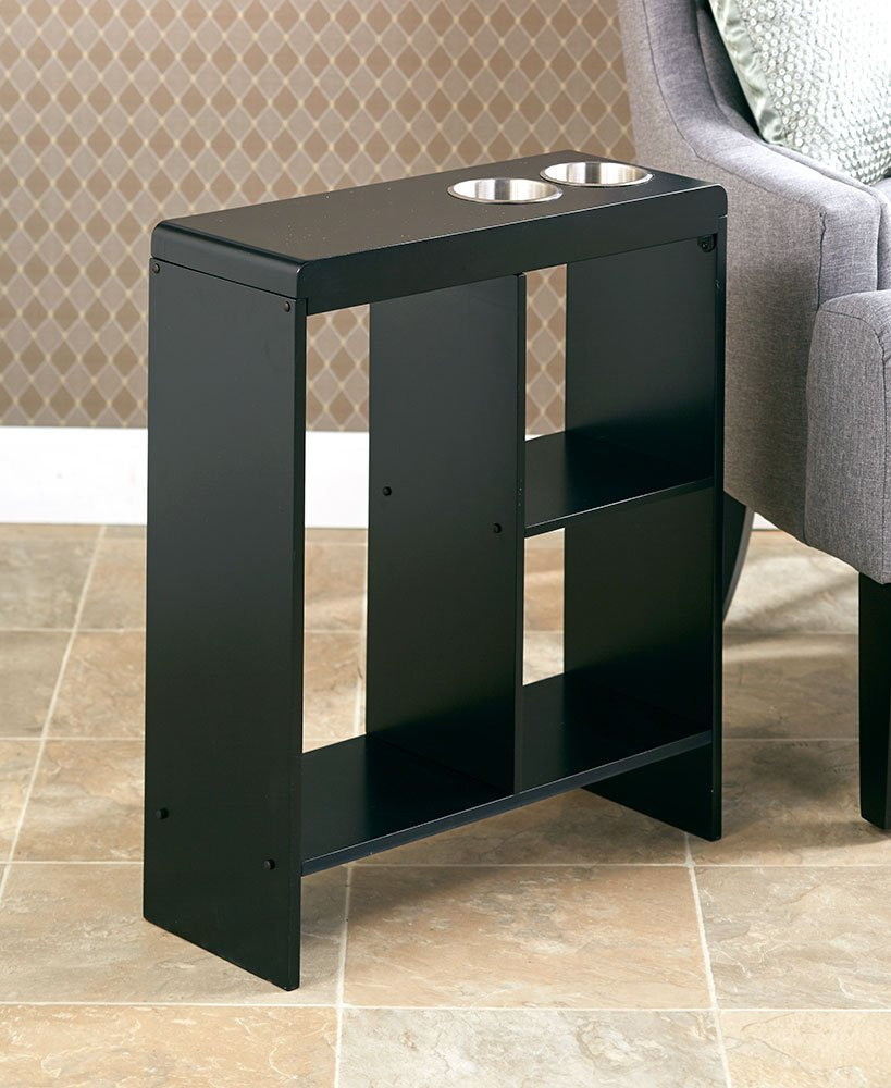 the lakeside collection slim end table with drink cup holder holders black kitchen dining glass tables ikea patio furniture honey oak night wooden dog crate plans mcm bedroom