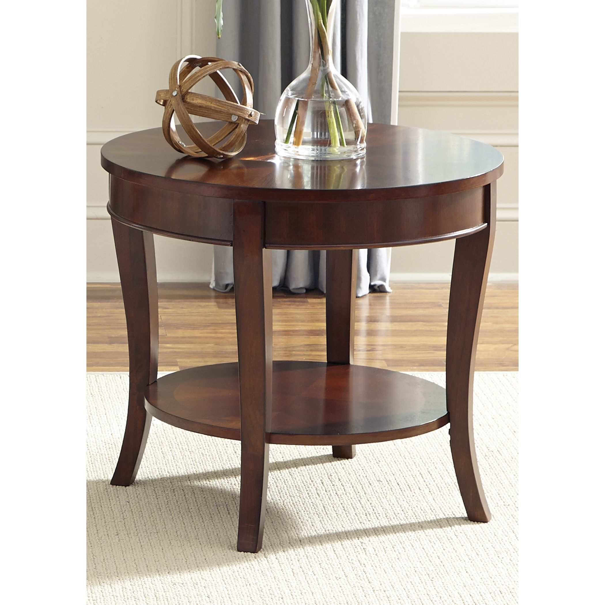 the liberty round end table features rich cherry finish over solid hardwood construction traditional styling and flared leg design complete glass top couch arch coffee wood block