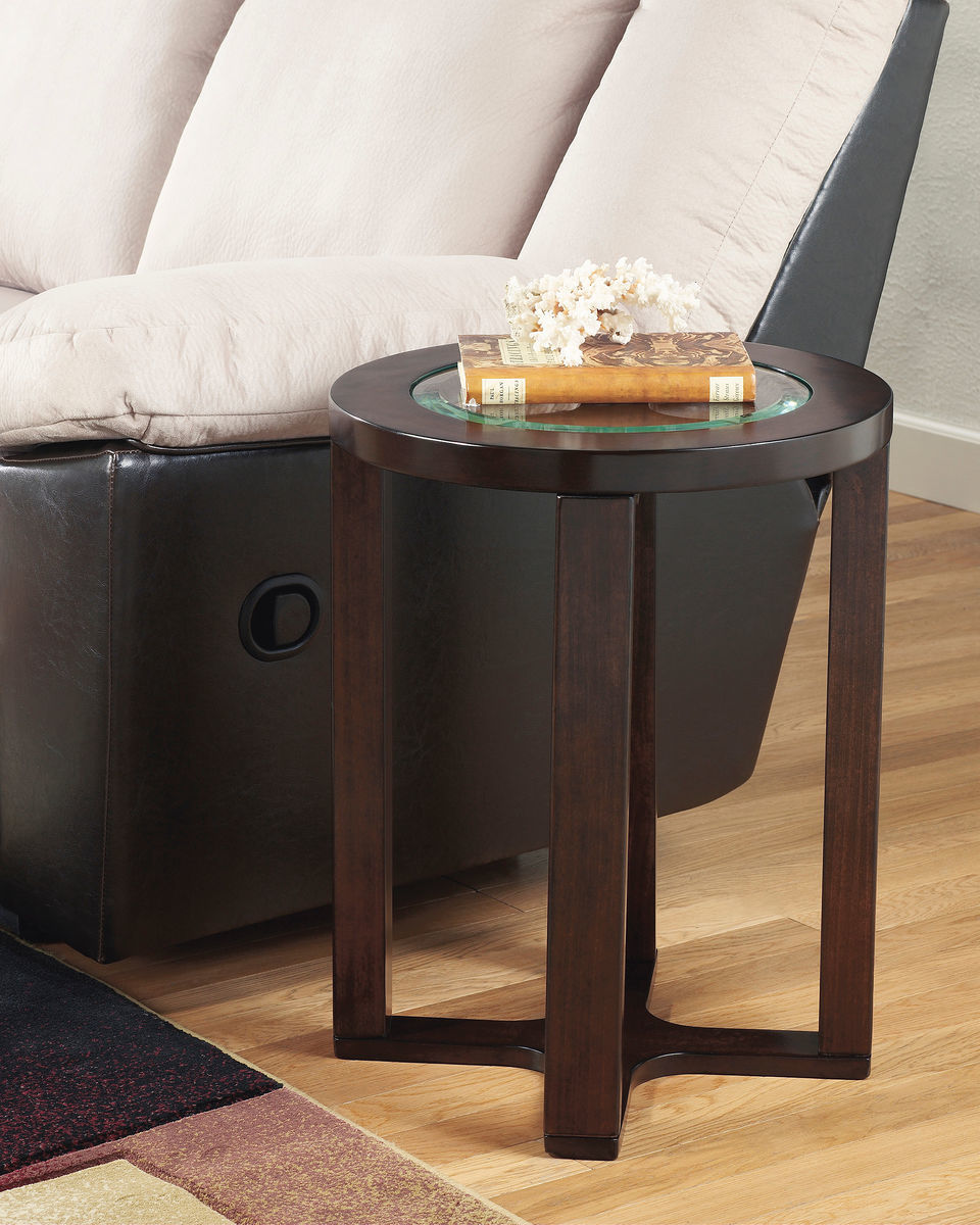 the marion dark brown round end table available royal star tables glass top outdoor furniture stanley bunk beds twin over full bedroom design broyhill lenoir dining set palliser