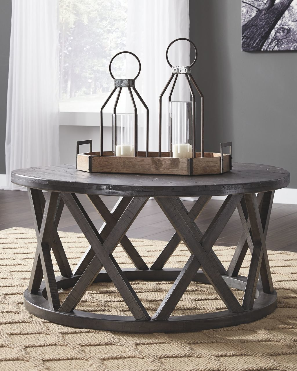 the sharzane grayish brown round cocktail table available gray end tables next glass side italian dining dark wood dresser mission style bedroom furniture cherry caramel leather