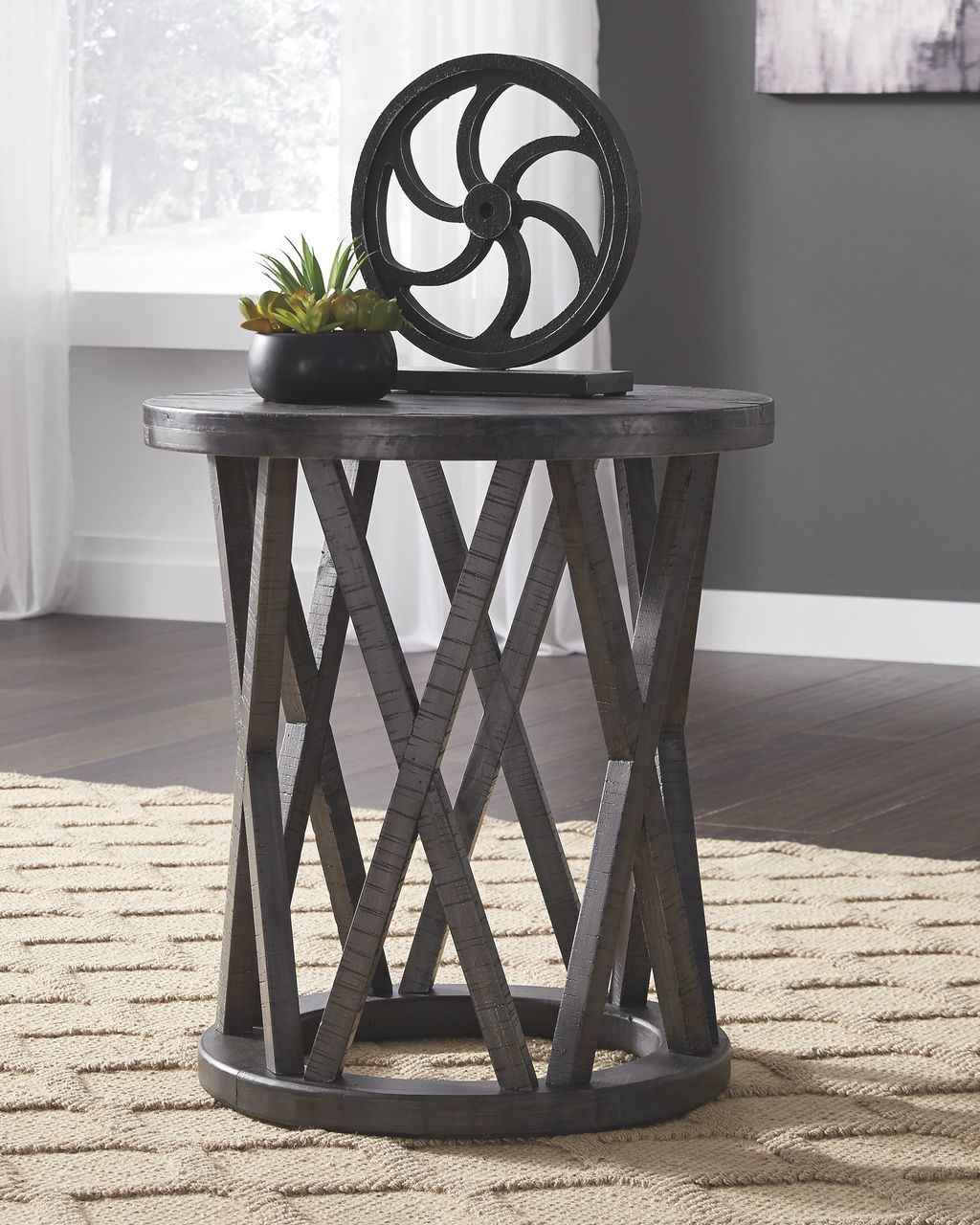 the sharzane grayish brown round end table available royal star big lots sets gray trunk coffee creative dog ideas mainstays drawer chest instruction manual rustic patio