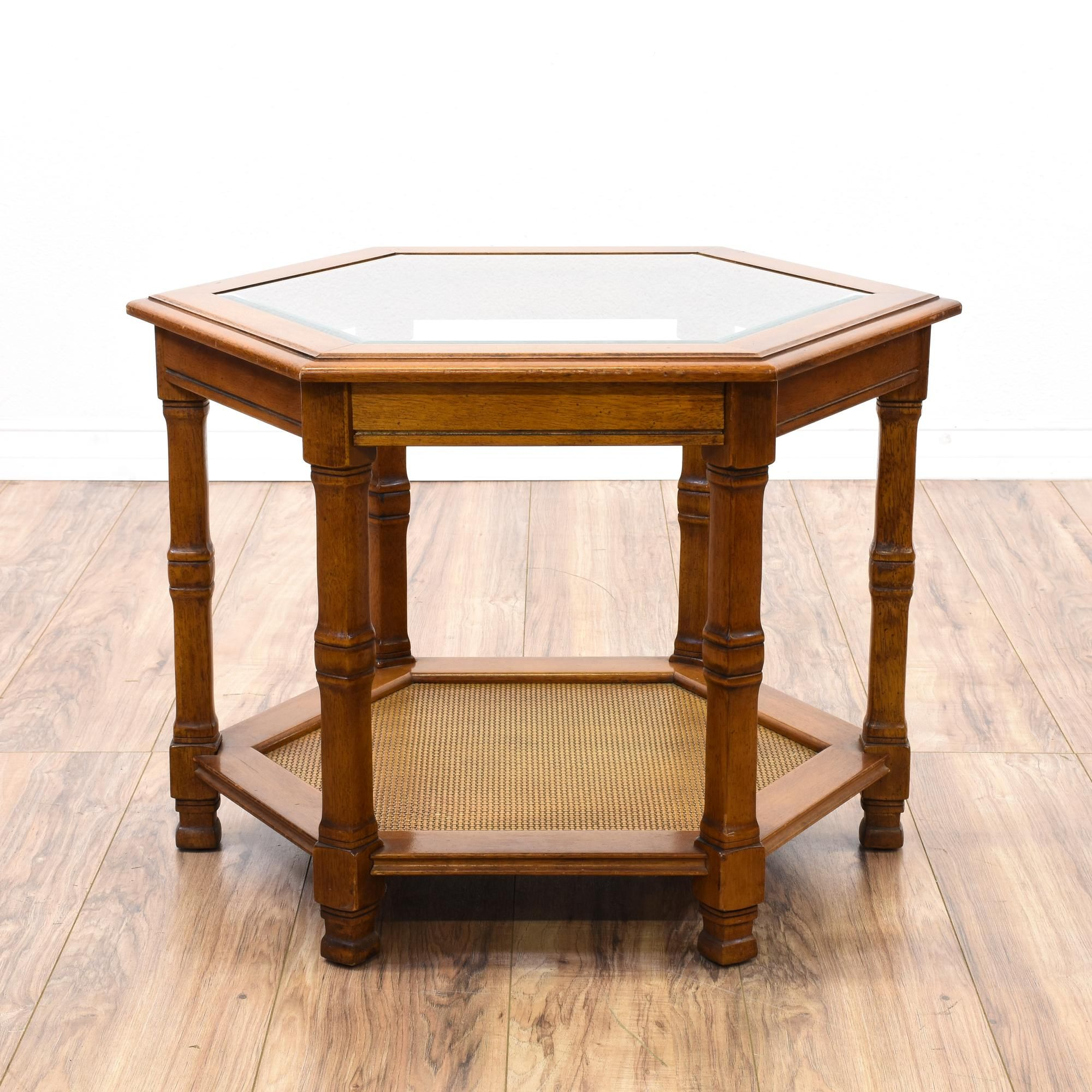this hexagon end table featured solid wood with glossy cherry tables glass top finish side has carved legs and bottom wooden occasional oak living room furniture kmart luggage