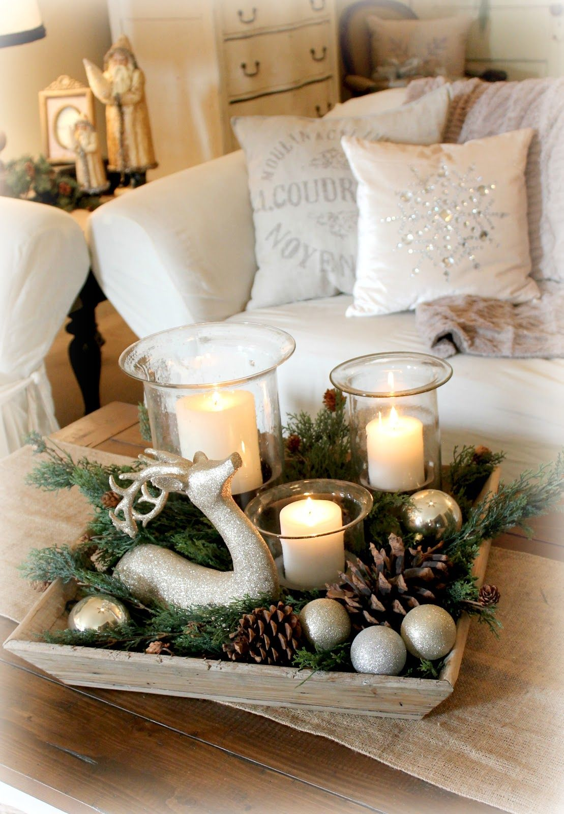 this turned out cute fill tray with candles deer evergreen end table christmas decor pine cones and ornaments north shore dining room furniture lack sofa white dresser mirror