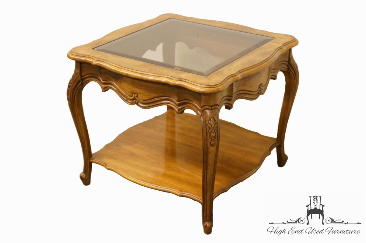 thomasville furniture french court collection square end lamp tables table extra large wooden dog crate stone look coffee magnolia home furnishings retailers wood nesting lazy boy