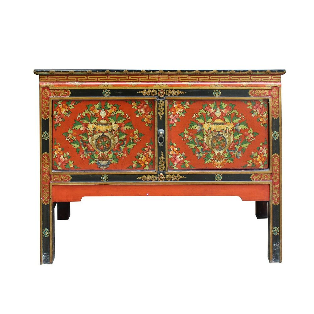 tibetan oriental black orange red floral end table nightstand side tables details about storage leon furniture dining room sets average dimensions slate top target shelf bookcase