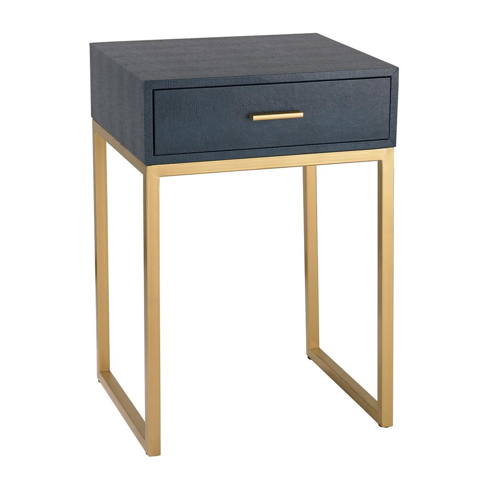 titan lighting navy and gold storage side table the home faux shagreen with end tables blue narrow glass sauder kids furniture chaise lounge sofa ashley small dark wood round