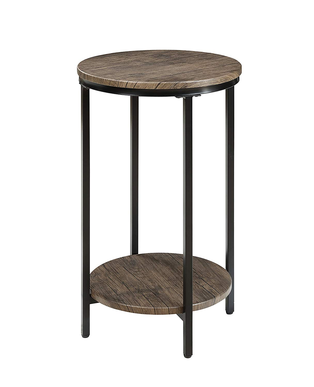 ton lane antique wood finish two tiered round end distressed table side with storage shelf for living room pecan kitchen liberty entertainment console lazy boy sofa chair