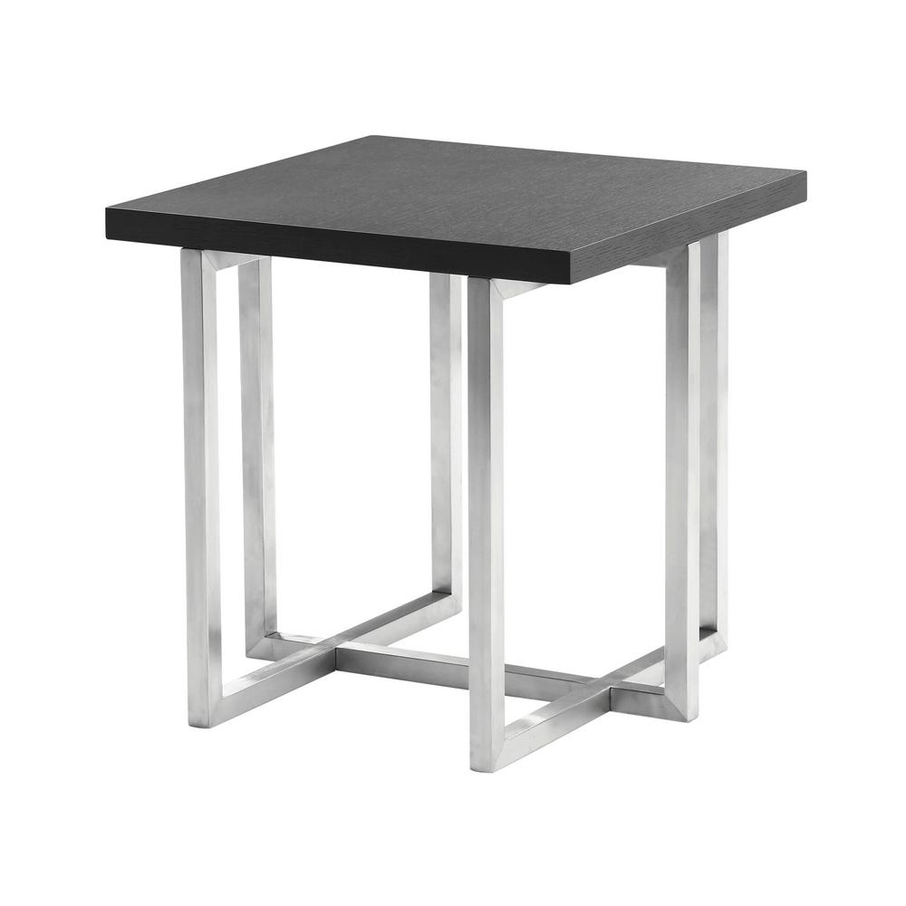 topaz armen living grey veneer wood top contemporary end table tables lctplagrbs brushed stainless steel finish the ashley furniture reviews amish desk glass and chrome round side