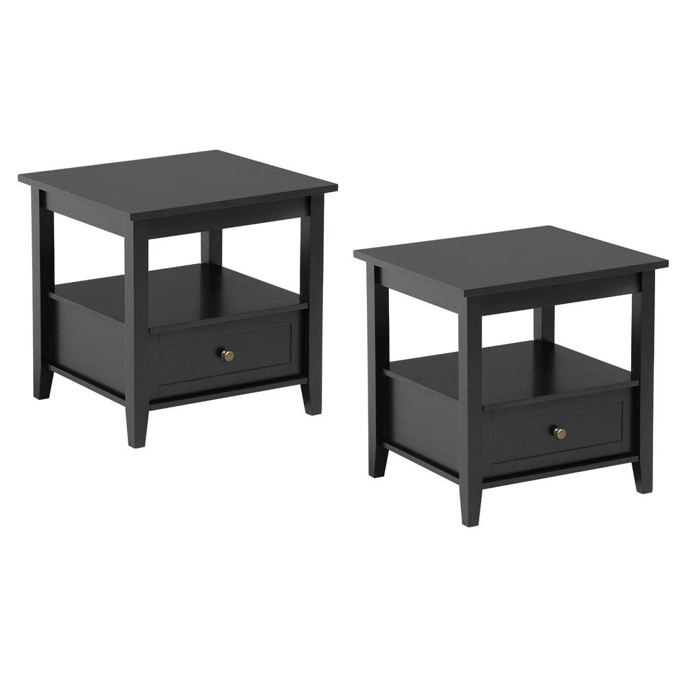 topeakmart black end table with bottom drawer and open tables living room storage shelf for sofa side set kitchen dining inch wrought iron patio wall color brown ethan allen
